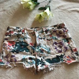 Free People floral denim shorts